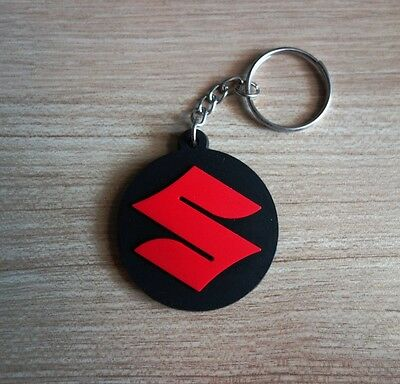 SUZUKI Keychain Keyring Black Red Rubber Motorcycle Car Gift New Free shipping