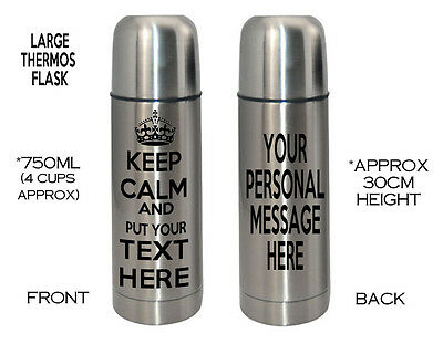 Personalised Thermos Flask Stainless Steel KEEP CALM Mum Dad Nanny Grandad Gift