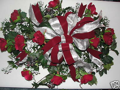 Summer Mothers Day Funeral Headstone Silk Flowers Grave Burial Pillow Spray