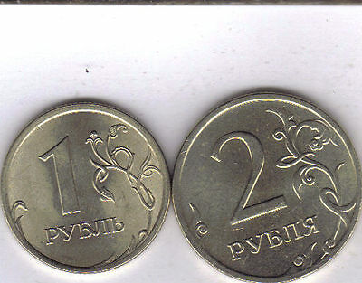 2 DIFFERENT COINS from RUSSIA - 1 & 2 ROUBLES (BOTH DATING 2007).