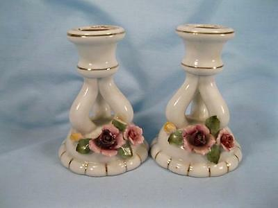 Made Japan Porcelain Candlesticks Pair With Shaped Pink Rose Petals (O3) AS IS