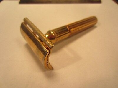 Vintage 1940's Gillette Gold Fat Handle Tech DE Safety Razor