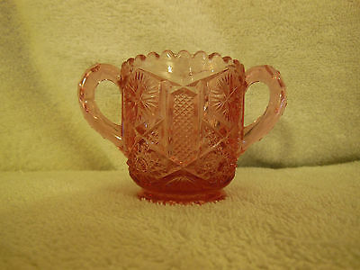 Vintage Pressed Glass Lilac Pink Double Handle Toothpick Holder ~ Pretty
