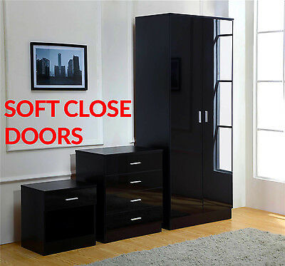 Black High Gloss 3 Piece Trio Bedroom Furniture Set - Wardrobe Chest Bedside
