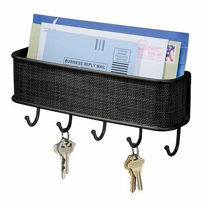 InterDesign Twillo Wall Mount Mail and Key Rack Hanger Organizer Storage, Black