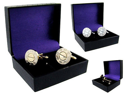 "Designer Style  Stainless Steel Cufflinks Are Gold Color Face Measures 3/4""round"