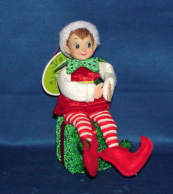 Pixie Elf Sitting On Package Shelf Sitter Christmas Decoration Ornament