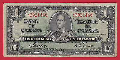 1937 LL 2921446  Canada One Dollar Note Gordon Towers   $12