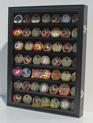 Challenge Coin Casino Chip Display Case Shadow Box Cabinet Real Glass, COIN26-BL