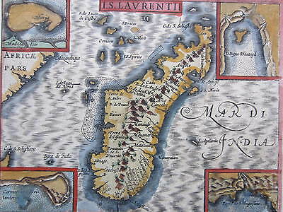 Engraved Handcolored Map of Madagascar - Early 17th. Century