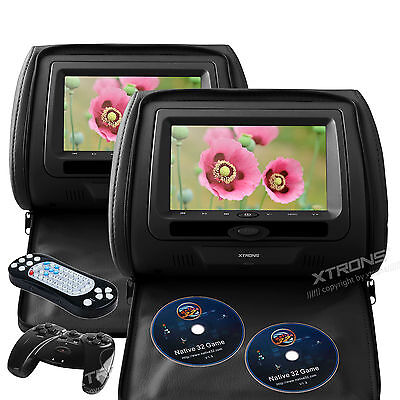 "2X 7"" LCD Car Entertainment Black Pillow Headrest Monitor DVD USB Player Game IR"