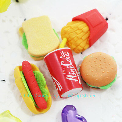 5 cute Fast Food Style Rubber Pencil Eraser kid Students Stationery EncourageToy