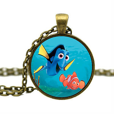 Vintage Finding Nemo Dory Glass Pendant Necklace Just Keep Swimming