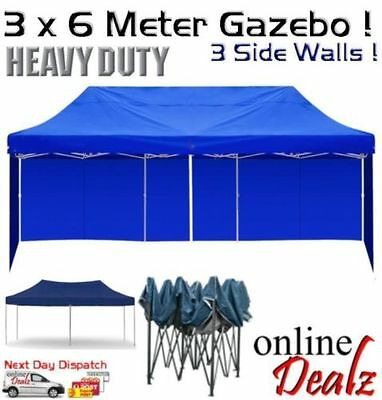 6x3 Outdoor Gazebo Pop Up Folding Marquee Party Stall Event Tent Wall Canopy BBQ