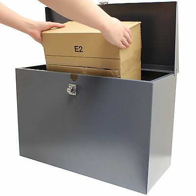 Hardcastle Large Grey Lockable Letterbox/Parcel Box Home Delivery Secure Storage
