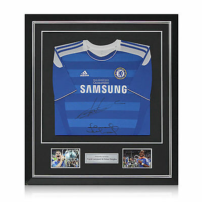 Framed Frank Lampard Didier Drogba Signed Chelsea Champions League Jersey