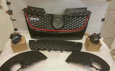 VW Golf MK5 GTI GRILL SET WITH FOG LIGHTS COMPLETE FOG COVERS UK STOCK