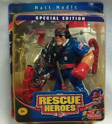 Fisher Price Rescue Heroes Matt Medic Special Edition 2002 Pliers Stretcher New