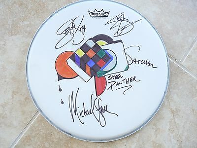 """2015 STEEL PANTHER Band Signed Autograph  14"""" Drumhead W/ SKETCH PSA Guaranteed"""