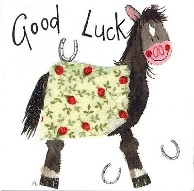 "Alex Clark Art Horse  Note Cards  Set Of 4 Cards ""good Luck"""