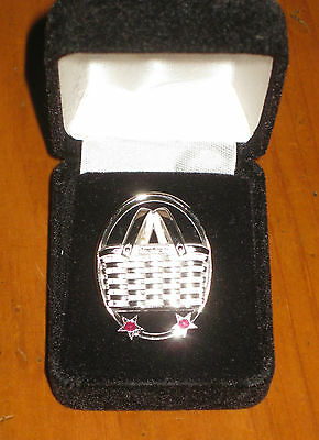 Longaberger Branch Advisor Silver toned Basket Lapel Pin ~ w/ Red Stones New Nib