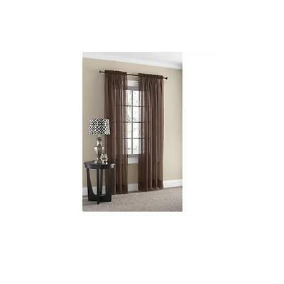 Mainstays Marjorie Sheer Voile Curtain Panel Warm Chocolate 59X63