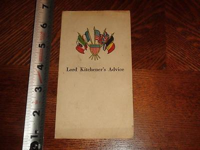 JE986 Vintage WWI Soldiers Orders Lord Kitchener's Advice Assist France