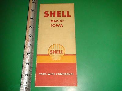 JE816 Vintage Shell Map of Iowa with 1940 Census