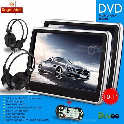 "10.1"" Twin HD Digital Touch Screen Thin Car Headrest DVD USB SD Player Game UK"