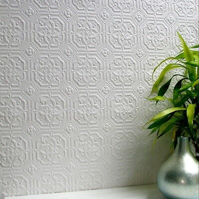 Anaglypta Derby White Paintable Wallpaper - Embossed Faux Tin Look - 10m Roll