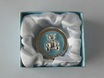 Babies First Curl Box- Silver Plated / Teddy Blue - By Leonardo Collection - New