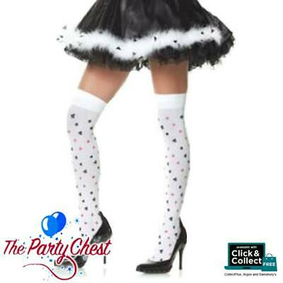 Black Opaque Bow Ace Playing Card Queen of Hearts Hold Up Stockings Fancy Dress