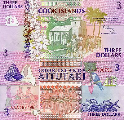 COOK ISLANDS 3 Dollars AITUTAKI Paper Money: World Pick p7 aUNC Bill 1997 Note