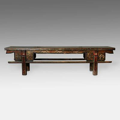 Antique Bench Lacquered Painted Elm Wood Mongolia Chinese Furniture 19Th C.