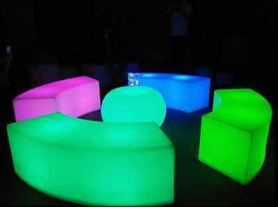 Light Up LED Bar Stool Rechargeable Night Club Furniture Garden Glowing Chair