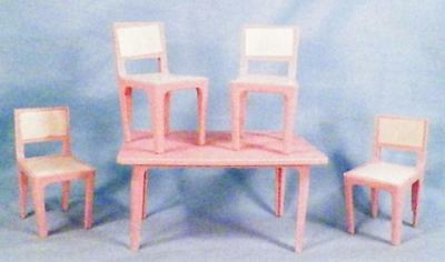 Pink Kitchen Table & 4 Chairs Dollhouse Miniature Furniture Hard Plastic Vintage
