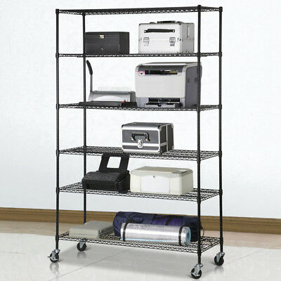 6 Tier Metal Shelf Rack Storage Organizer Garage Office Wire Shelving Holder New