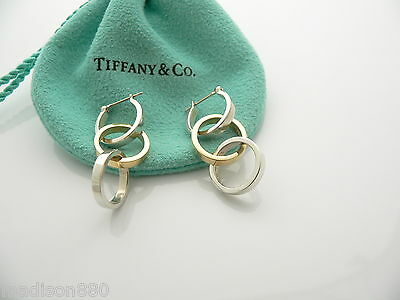 6adc021b9 Tiffany & Co Silver 18K Gold Picasso Triple Loop Hoop Circles Dangle  Earrings
