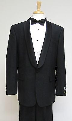 Mens 100% Wool One Button Single Breasted Shawl Collar Tuxedo-Reg,Shorts,Longs
