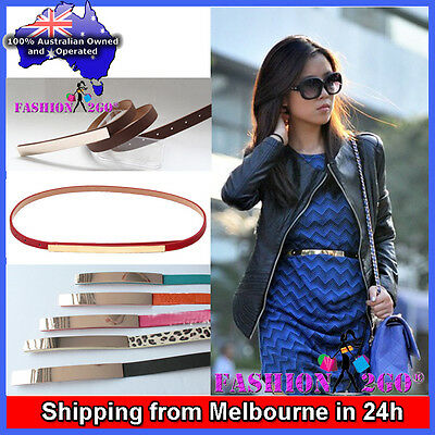 Clearance HQ PU Leather Woman Lady Embellished Metallic Bling Gold Mirror Belt