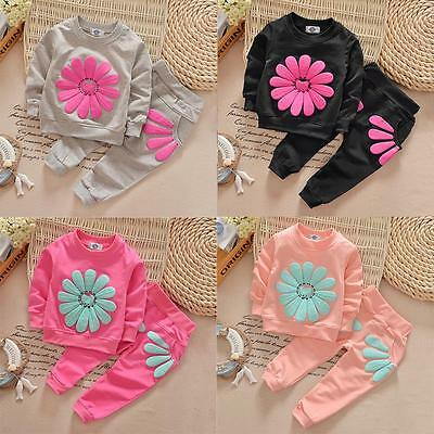 Baby Girls Kid SunFlower T-shirt Tops +Long Pants 2Pcs Outfit Clothing Set Suits