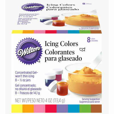 Wilton Set of 8 Icing Colors For Cake Decorating Fondant and Frosting 1/2oz