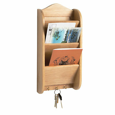 Fox Run Wood Letter Key Rack Holder Kitchen Home Mail Organizer W/ Hooks 4057