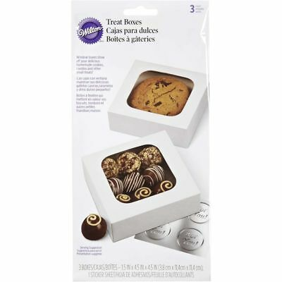 Wilton White Small Treat Boxes with Window - 3 Boxes 1 ½ x 4 ½ Inches
