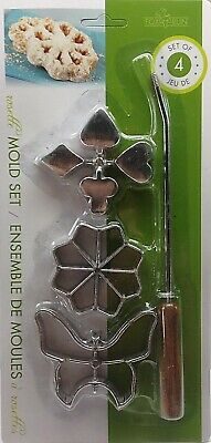 Fox Run Rosette & Timbale Set Scandinavian Cookies Biscuit Molds Iron Aluminum