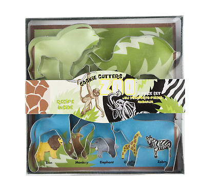 Fox Run Zoo Animal Cookie/Biscuit Cutters Metal 5 Piece Lion/Monkey/Elephant New