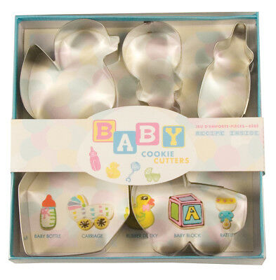 Fox Run Baby Themed Shower Cookie/Biscuit Cutters Metal 5 Piece Boy/Girl Party