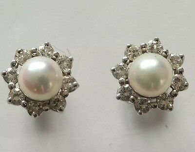 18ct Gold Pearl and Diamond Daisy Cluster Stud Earrings