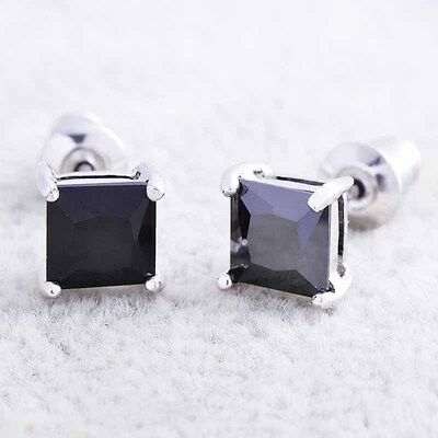 cute mens Silver plated black square cubic zirconia stud earrings jewelry