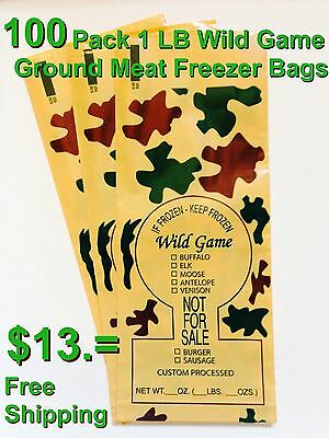 Camo Print Wild Game Ground Meat Freezer Chub Bags 1Lb 100 Count Free Shipping